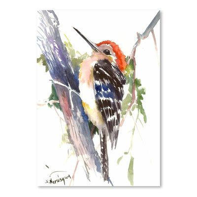 Red Barrel Studio 'Red Headed Woodpecker' Painting Print