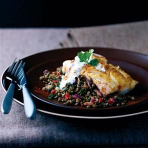 Roast cod on spiced puy lentils. (Use veggie stock.)