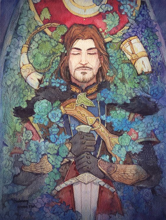 Boromir Fights No More  |  Art creation of Boromir's death.  Click through to see more about this idea in a video on YouTube.  #boromir  #watercolor  #LOTR  #death  #art #painting