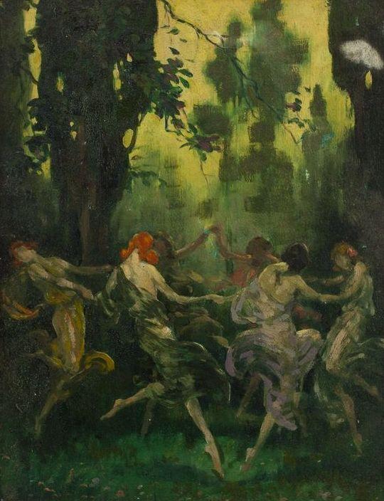 Women Dancing in a Circle  Warren B. Davis (American, 1865–1928)  Oil on board