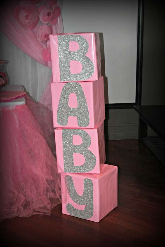 It 39 s a girl pink and silver baby shower party ideas for Baby name decoration ideas