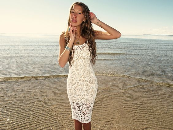 emmaoclothing - Handmade crochet knee length dress WHITE  Dresses ...
