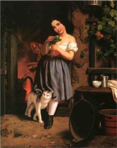 A Young Girl with Cat - Berthe Morisot: Century Artists, Art Cats, Girls Cats 3, Arty Cats, Morisot Painting, Art 19Th Century, Berthe 1841 1895, A Young Girl With Cat Jpg 655