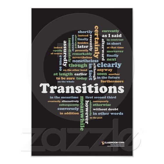 "Writing Transitions 13"" x 19"" hard copy classroom print. $11.95"