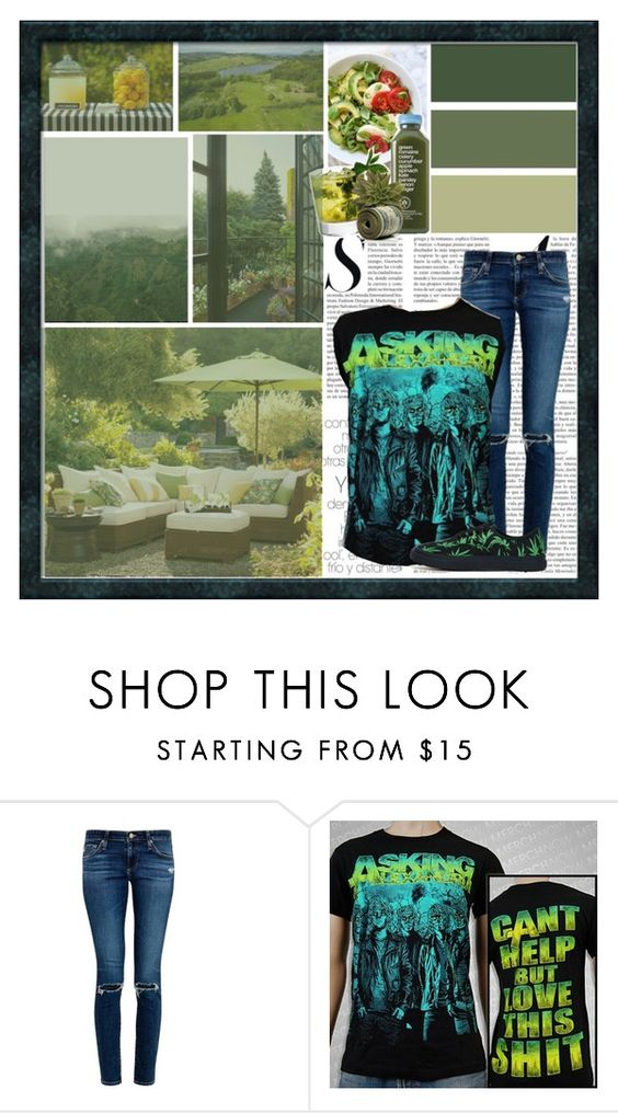 """Summer garden"" by andyrosexxx on Polyvore featuring Pottery Barn, Something Strong, AG Adriano Goldschmied and BAD ACID"