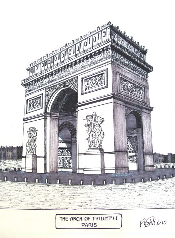 pen and ink drawing by frederic kohli of the famous arch