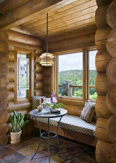 Nooks window seats and cabin on pinterest for Log cabin window