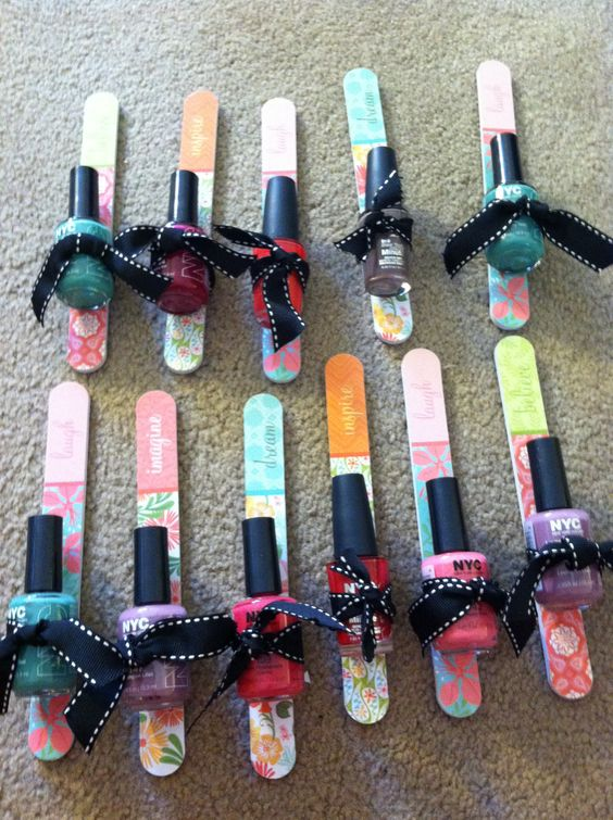 Cute party favor for a spa party, tween girl's birthday party or bridal shower or bridesmaids luncheon.