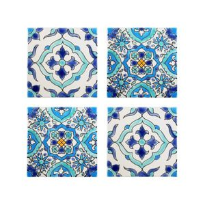 Mediterranean Tile Coasters - Set of 4 - Santorini Style Collection - Dot & Bo