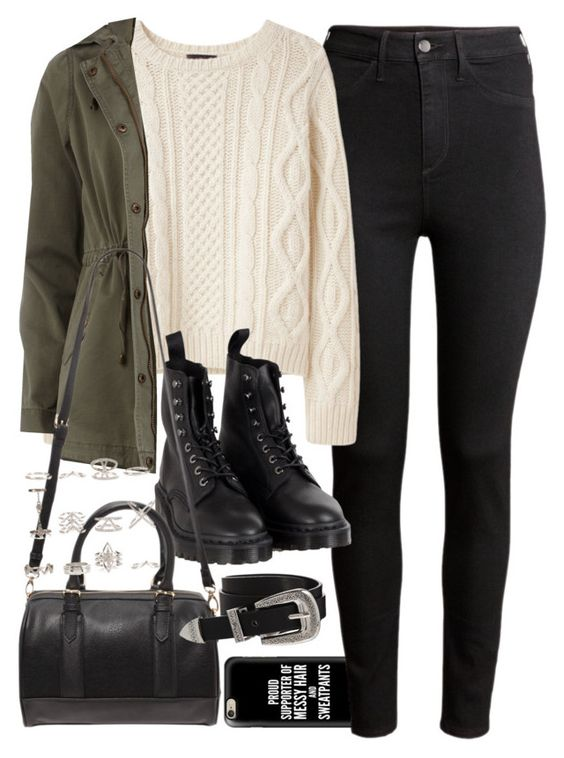 """Outfit for college with a khaki jacket"" by ferned ❤ liked on Polyvore featuring Casetify, H&M, A.P.C., Dorothy Perkins, Dr. Martens, Forever 21, New Look and ASOS"