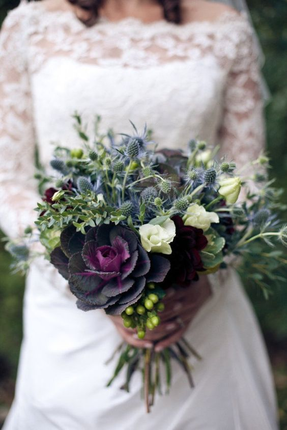 Wedding Bouquets With Lisianthus : Autumn wedding bouquet cabbages and flower
