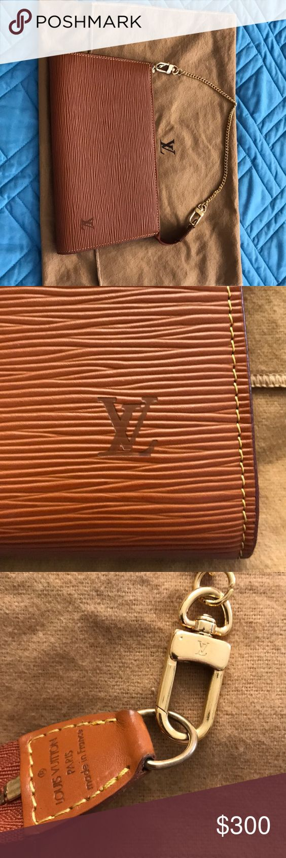 Louis Vuitton EPI pochette AUTHENTIC Louis Vuitton epi pochette with gold chain handle in brown / fawn/ Orange color in good condition. Inside has few small stains in interior from normal use but won't affect use. Hardware and chain still shiny overall wi