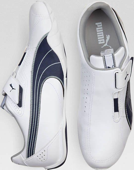 Puma White and Navy Slip-Ons - Men's
