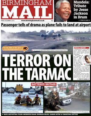 Terror in the skies for as storms batter Birmingham