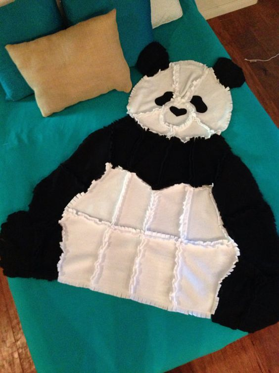 Fleece Panda Bear Rag Quilt/Blanket Throw by PatchworkLuxury: