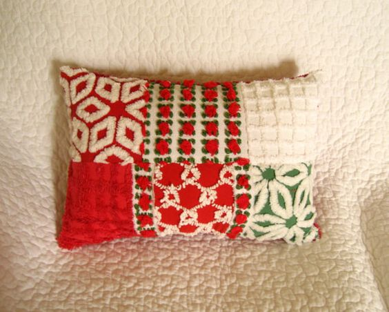 Vintage Chenille Quilted Christmas Pillow Red Rosebuds and More