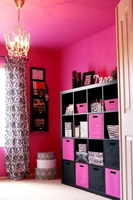 Storage bins girls and bedroom ideas on pinterest for Bedroom designs pink and black