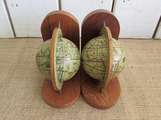 Set of Old World Map Globe Bookends, Vintage Bookends, Old Bookends, Old World Map Bookends, Bookends by OpenTwentyFourSeven on Etsy