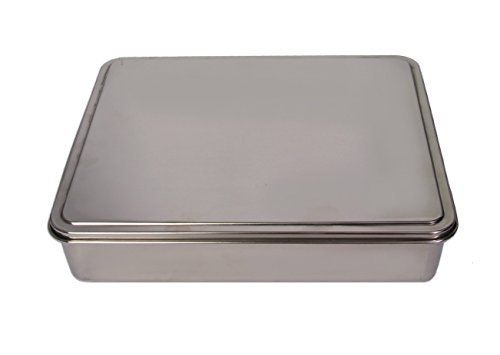 Ybm Home Stainless Steel Covered Cake Pan Silver Medium 2402