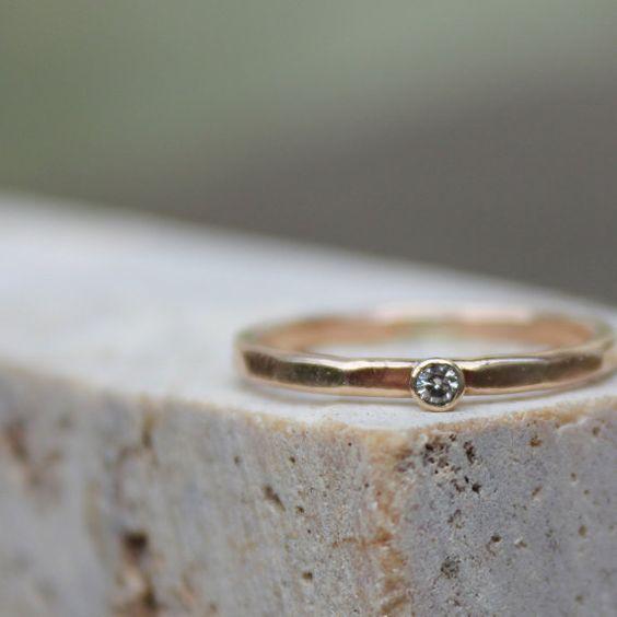 Moissanite and Gold White Gemstone Engagement Ring on Etsy, $230.00