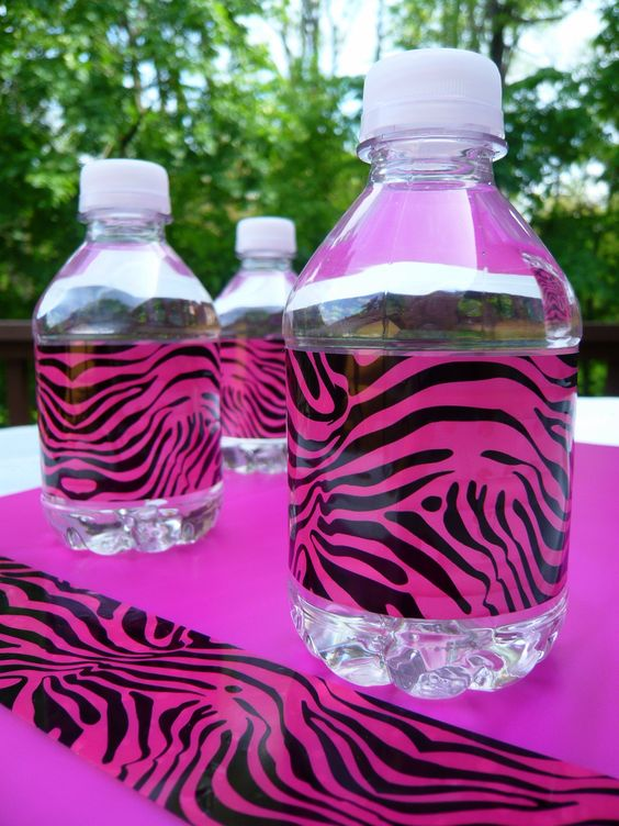 Pink zebra duct tape water bottle wraps http://duckbrand.com/products/duck-tape/prints/standard-rolls/pink-zebra-188-in-x-10-yd?utm_campaign=dt-crafts&utm_medium=social&utm_source=pinterest.com&utm_content=duct-tape-crafts-decor