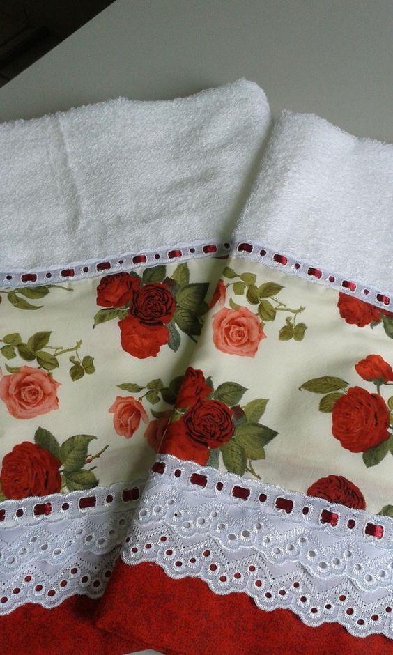Toalha de Banho + Toalha de Rosto  Cor branca  Diversos Tipos de Barrado  100% algodão  Casa In