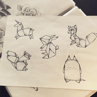 origami fox sketch - Google Search
