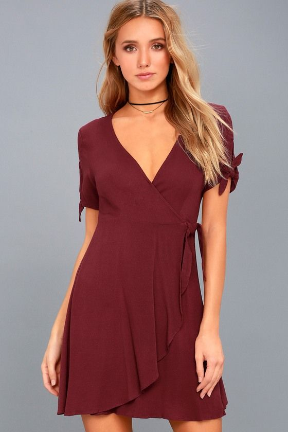 be5431ec516e Make a statement all your own in the My Philosophy Burgundy Wrap Dress!  Gauzy woven fabric sweeps across tying