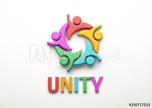 Unity People Group 3d Render Illustration Community Business People Concept Symbol Communication Social People Logo Illustration Stock Illustration