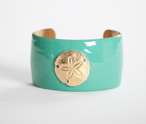 Wimberly sandollar cuff bracelet in turquoise (comes in MANY colors)