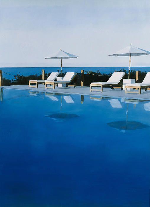 David Hockney's water, L.A. Swimming Pool.  Piscina e o mar que está por traz, fazem transparecer um ambiente tranquilo que eu adoro.
