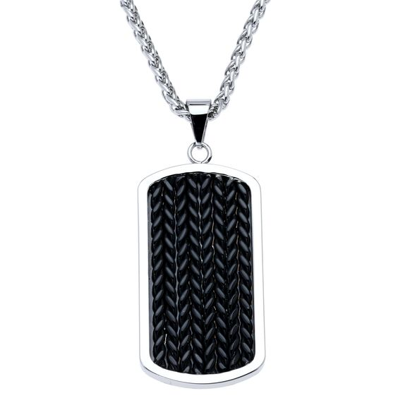 This sleek stainless steel necklace features black ion-plated dog tag. A wheat chain and high polish finish complete the look of this pendant.