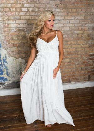 To Have and to Hold Lace Maxi Dress White