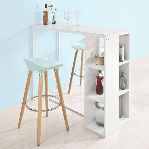 Sobuy Fwt39 W Table Haute De Bar Mange Debout Cuisine Avec 3 Etageres De Rangements Blanc Rakuten En 2020 Table Haute Cuisine Table Haute Etagere Rangement