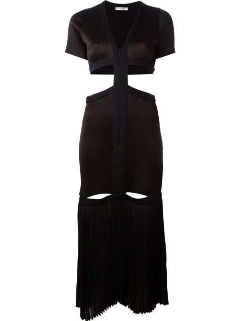 BARBARA CASASOLA pleated cut out detail zip up dress. #barbaracasasola #cloth #dress