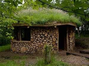 Cordwood hut
