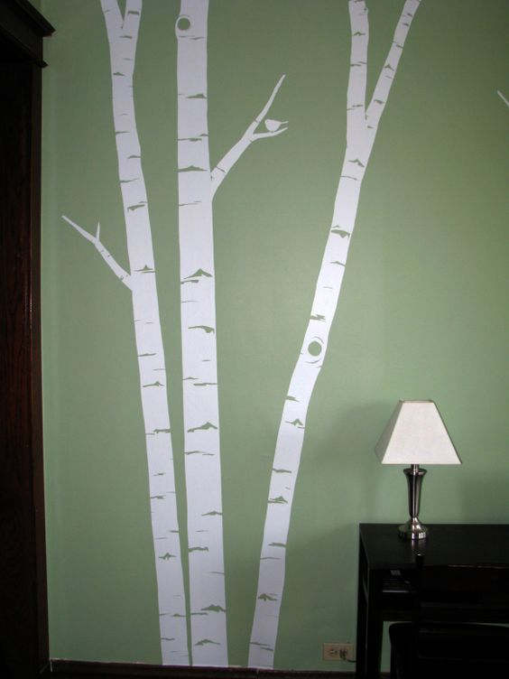 Birch tree mural diy crafts for Diy birch tree wall mural