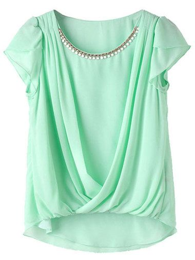Line-Up Rhinestones O-Neck Ruched Tee Shirt Summer Clothes For Women on buytrends.com