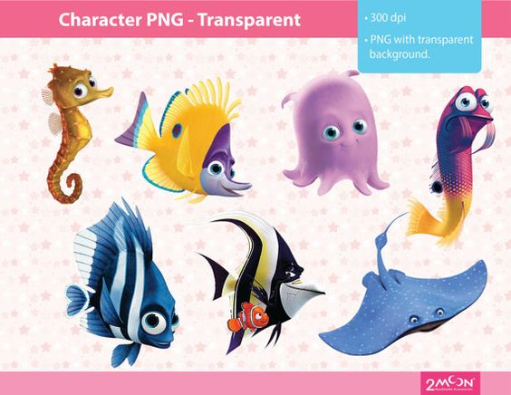 58 Finding Nemo Character PNG Images 300 dpi by 2moon on Etsy ...