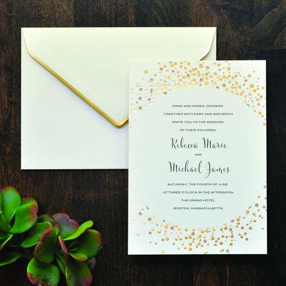 Gold Dots Invitation Kit Glittery Gold Wedding – Gold Wedding Invitation Kit