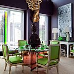 Todd Alexander Romano - love the aubergine walls and green and gold accents
