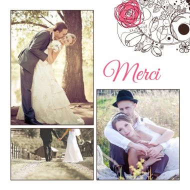carte de remerciements mariage au nom de la rose http - Carte De Remerciement Mariage Avec Photo