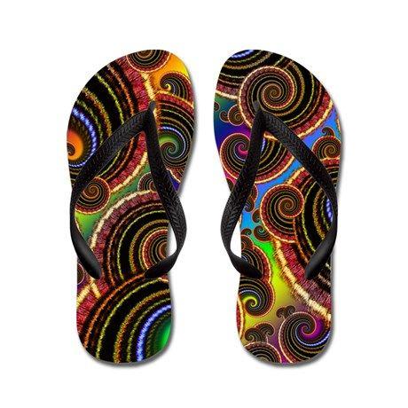 Funky Rainbow Swirl Pattern Flip Flops on CafePress.com
