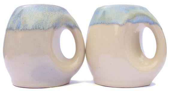heimat 2er Set Cappuccino-Tassen - handgemachte Unikate aus Keramik - Design Retro Vintage Steingut Teetasse Kaffeetasse - weiß hell beige creme crema: Amazon.de: Küche & Haushalt