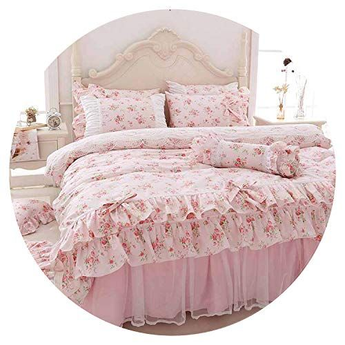 Printing Bedding Set Queen King Size 4 6pcs Ruffle Princess Duvet Cover Sets Pink Bedspread Bed Sheet 100 Cot Duvet Cover Sets Ruffle Bedding Sets Bedding Set