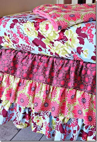 love a ruffled bed skirt.