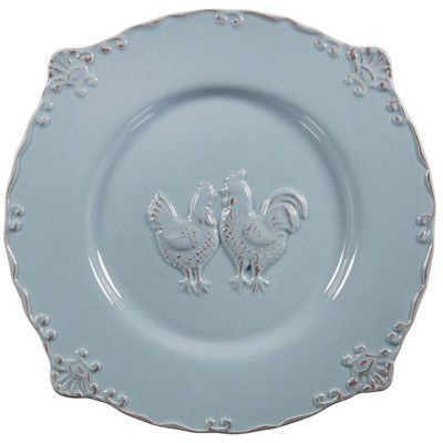"""Home Essentials and Beyond 12"""" Embossed Rooster Salad Plate Color: Blue"""