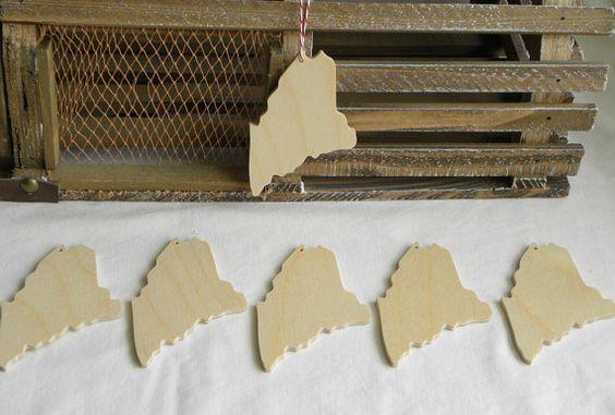 Unfinished wooden Maine state shape set of 6 by MainelyInspiredArt