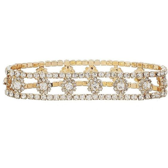 Cezanne Floating Daisies Crystal Stretch Bracelet ($28) ❤ liked on Polyvore featuring jewelry, bracelets, daisy jewelry, crystal bangle, crystal jewellery, stretch jewelry and crystal jewelry