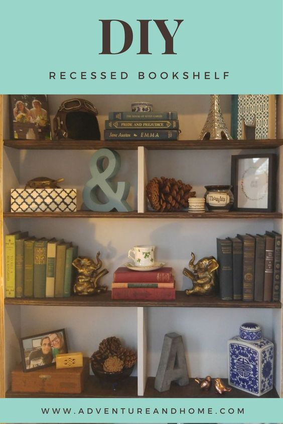 Diy recessed bookshelf plywood project easy diy plywood for Building a bookcase for beginners